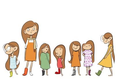 Iosua, illustration, cartoon, children's book, concept art, character design, girl, rubber boots, rain boots, top boots