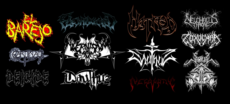 death metal, black metal, logo, band logo, heavy metal, logo design, symmetry, symmetrical, dauthuz, necryptic, fleshbound, gerrit rijken, bane obscura, soul scythe, el barejo, cardinal, hatred, toxocara, necryptic, deicide
